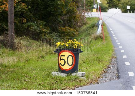 a bucket with flowers serving as a speed limit sign