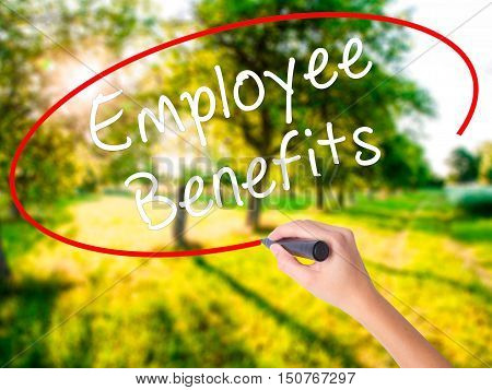 Woman Hand Writing Employee Benefits With A Marker Over Transparent Board