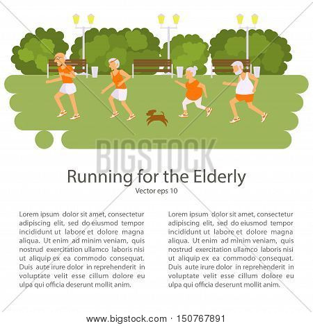 Elderly people doing exercises. Healthy lifestyle, active lifestyle retiree. Sport for grandparents, elder Race for Seniors. Place for your text. Vector illustration eps10