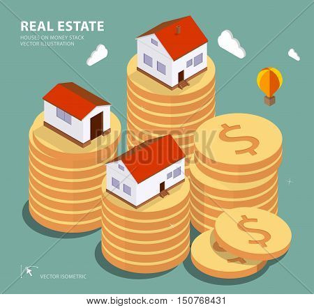 Real estate concept vector illustration. Price variation on real estate market. Flat isometric style concept design illustration.