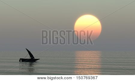 Sailing at sunset - 3D rendering