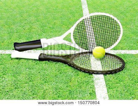 Tennis; rackets; sphere; court; game; green; grass; marking. 3D illustration
