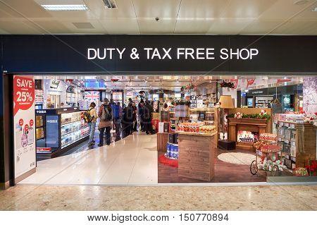 GENEVA, SWITZERLAND - NOVEMBER 19, 2015: a duty free store at Geneva Airport. Geneva Airport is the international airport of Geneva, the second most populous city in Switzerland.