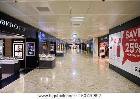 GENEVA, SWITZERLAND - NOVEMBER 19, 2015: inside of Geneva Airport. Geneva Airport is the international airport of Geneva, the second most populous city in Switzerland.
