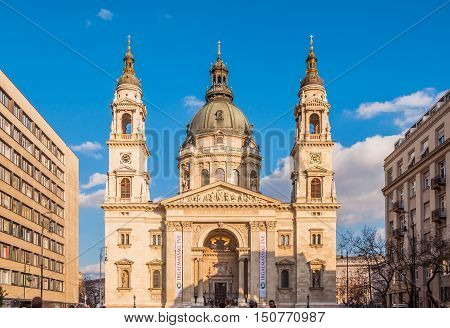 BUDAPEST HUNGARY - FEBRUARY 20 2016: St. Stephen's Basilica is a Roman Catholic basilica in Budapest Hungary. It is named in honour of Stephen the first King of Hungary.
