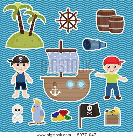 Set of cute pirate and pirate objects.