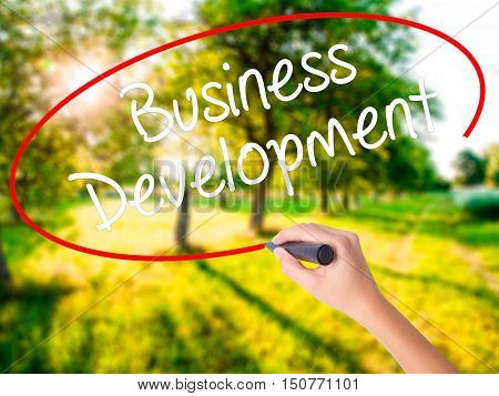 Woman Hand Writing Business Development With A Marker Over Transparent Board .