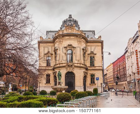 BUDAPEST HUNGARY - FEBRUARY 21 2016: Metropolitan Ervin Szabo Library is the largest library network in Budapest Hungary. Library is housed in the 19th-century neo-baroque Wenckheim Palace.
