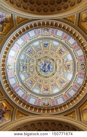 Interior Of The Cupola In The Roman Catholic Church St. Stephen's Basilica In Budapest
