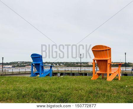 Blue and Orange Adirondacks on coast of Canada