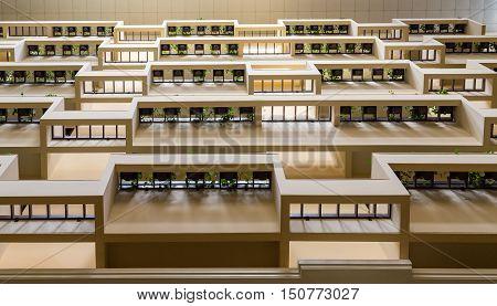 Walls in Atrium Lobby of modern hotel