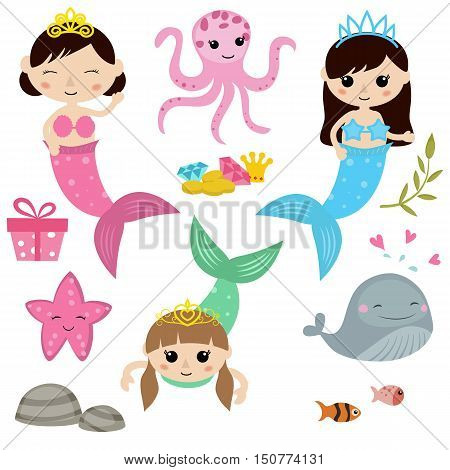 Vector set of cute girl mermaids on white background. Mermaids and sea animals made in cartoon style.
