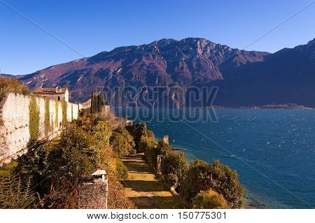 Lago di Garda (Garda Lake) and Monte Baldo (Baldo Mountain) near the small town of Limone sul Garda. Lombardia and Veneto Italy Europe