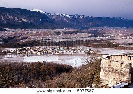 The Val di Non or Valle di Non (Non Valley) in Trentino Alto Adige in winter with snow. Northern Italy Europe
