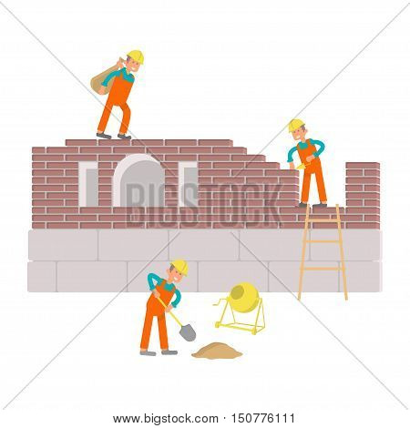 Builders are working with manual tools and equipment at construction site. Illustration cartoon characters isolated on white background. Vector eps10