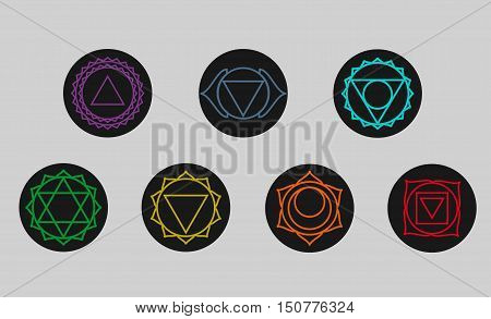 Set of seven chakras icons. Yogameditation and energy centers simbols.Vector illustration. Muladharamooladharasvadhisthanaswadhisthanamanipurmanipuraanahatavishuddhavishudhaajnasahasraraakashathird eye.