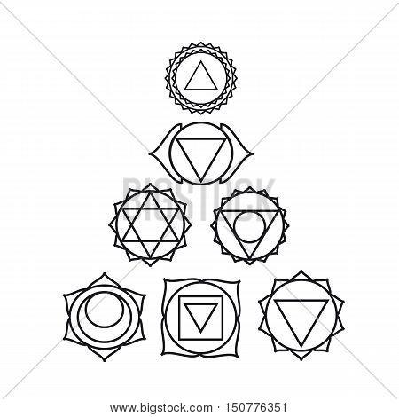 seven human chakras vector illustration black and white colors.