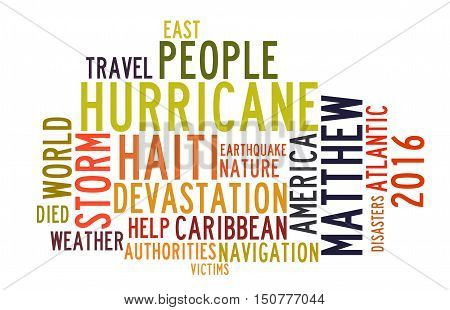 Hurricane Matthew in word tag cloud on white background