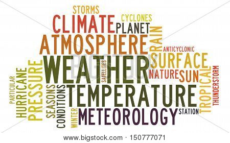 Weather in word tag cloud on white background
