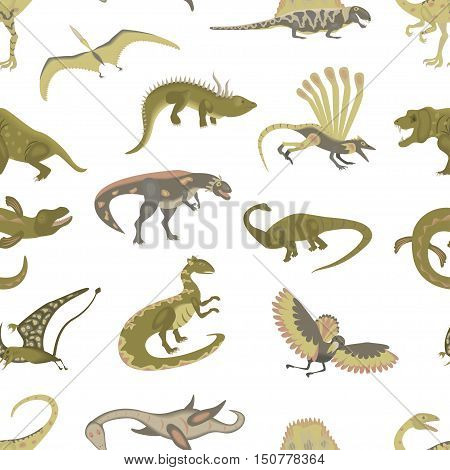 Seamless pattern of Jurassic reptile. Dinosaur vector illustration in modern flat design. Dino Isolated on white background. eps10
