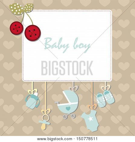 Decorative frame design template for invitation, greeting, birthday, postcard, frame, baby texture, child album template for children, holiday card,baby shower and arrival. Vector illustration for boy