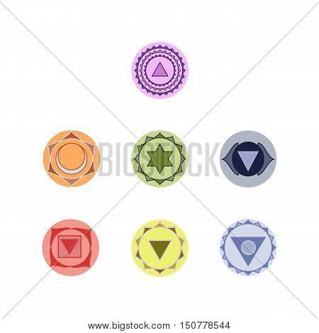 Symbols of seven chakras of the human body energy vector illustration.