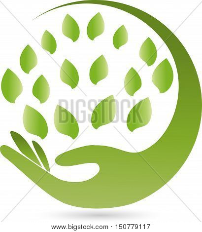 Hand and many leaves, round, naturopath and nature logo