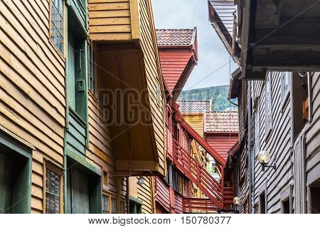 Colorfull houses in Bryggen, old city of  Bergen. Norway