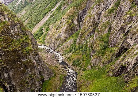 River Down The Voringfossen Waterfall In Hordaland, Norway