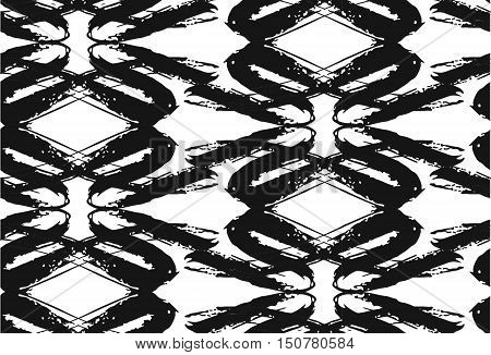 black and white tribal Navajo vector seamless pattern with doodle elements. aztec abstract geometric art print. ethnic hipster backdrop. Wallpaper cloth design fabric paper textile. Hand drawn