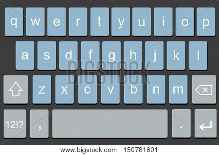 Vector modern keyboard of smartphone, alphabet keyboard buttons. Vector illustration for mobile app