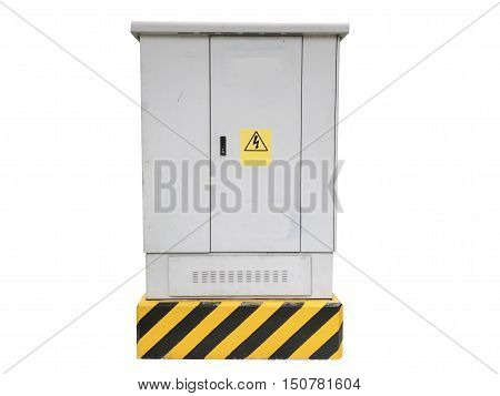 Outdoor cabinet for electrical equipment on white isolated background