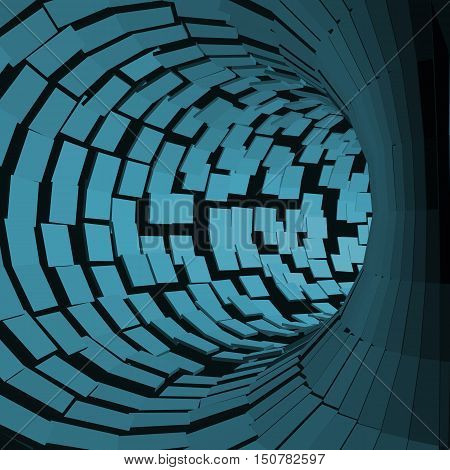 Abstract Tunnel. Futuristic Style. 3D Abstract Surface. Turning Tube Tunnel. Perspective Background. Data visualisation
