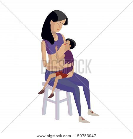 Flat design illustration of breastfeeding concept. Colorful cartoon character mother feeding baby. Lactation and free breastfeeding wherever you are
