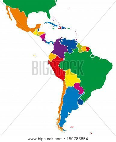 Latin America single states map. All countries in different full intense colors and with national borders. From northern border of Mexico to the southern tip of South America, including the Caribbean.