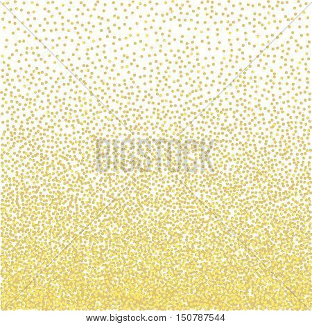 Golden grainy dotwork gradient texture. Retro halftone stippled background, vector illustration.