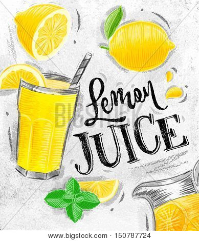 Poster with lemonade elements glass lemon jug mint fresh lettering juice lemon drawing on dirty paper background