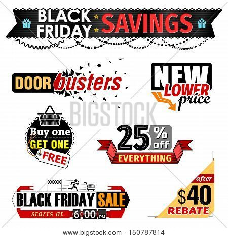 Black Friday Sale banner elements. Set of tags for christmas sales holiday shopping. Vector image for christmas sales new years day discount winter holiday shopping season price reduction etc