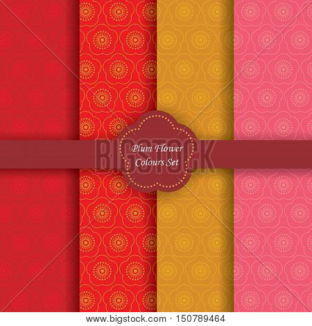 Plum flower / cherry blossom colours set. Chinese new year background. 4 different color chinese floral vector seamless patterns.