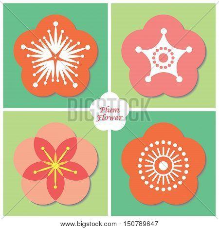 Icon set of Plum flower / cherry blossom. Spring flower vector illustration.