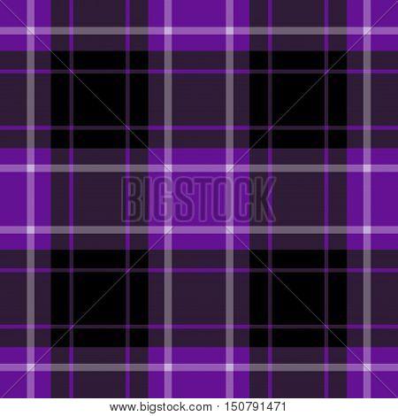 seamless illustration - purple black tartan with squares and white stripes