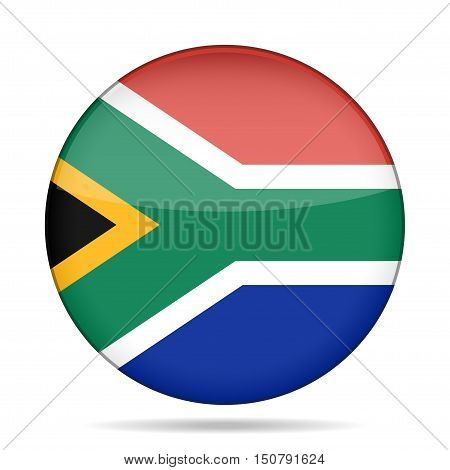 button with national flag - Republic of South Africa and shadow