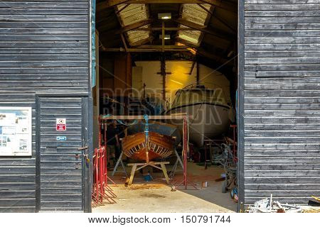 Southwold UK - August 18 2016 - Local boat workshop at Southwold harbour