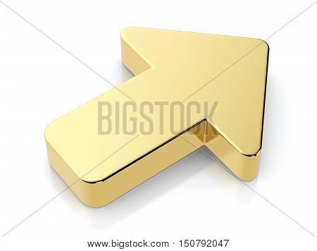 Golden Arrow Symbol. 3D Illustration.