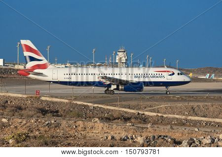 TENERIFE SPAIN - JULY 21: Airbus A321-200 from British Airways airline is ready for take off from Tenerife Airport on July 21 2016 in Tenerife south Spain.