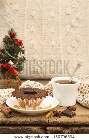 Christmas And New Year Still Life With Chocolate Cupcake