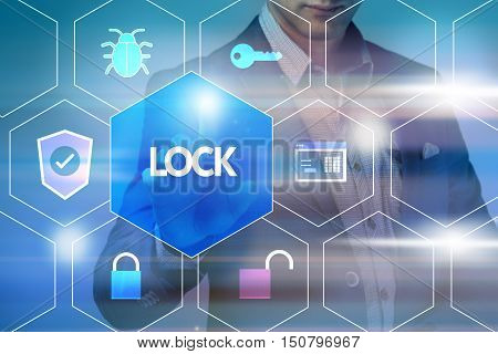 Business, Technology, Internet And Networking Concept. Businessman Presses A Button On The Virtual S
