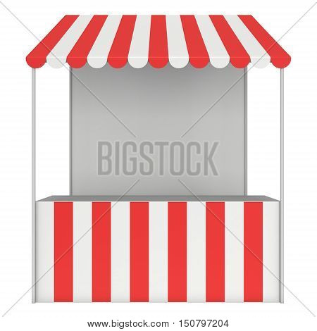 Market stand kiosk stall with striped awning for promotion sale. Shopping cart. Business store showcase and kiosk marketplace mobile. 3D render illustration isolated on white. poster