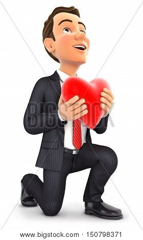 3d businessman in love with one knee to the floor illustration with isolated white background