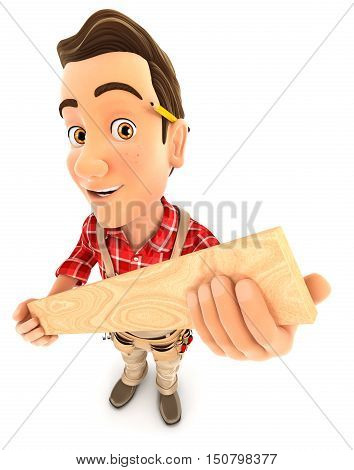 3d handyman holding wooden plank illustration with isolated white background